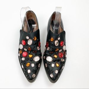 Marni Embellished Jeweled Leather Loafers, black
